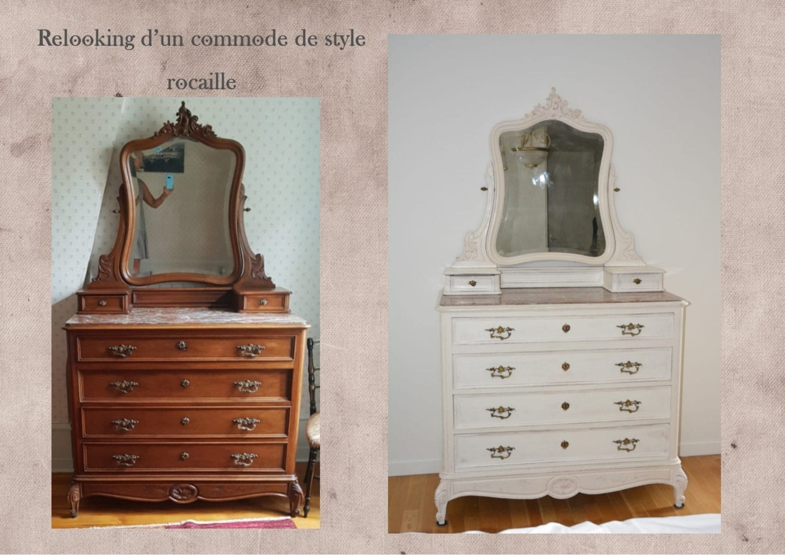 relooking commode rocaille caseine lexquisetrouvaille