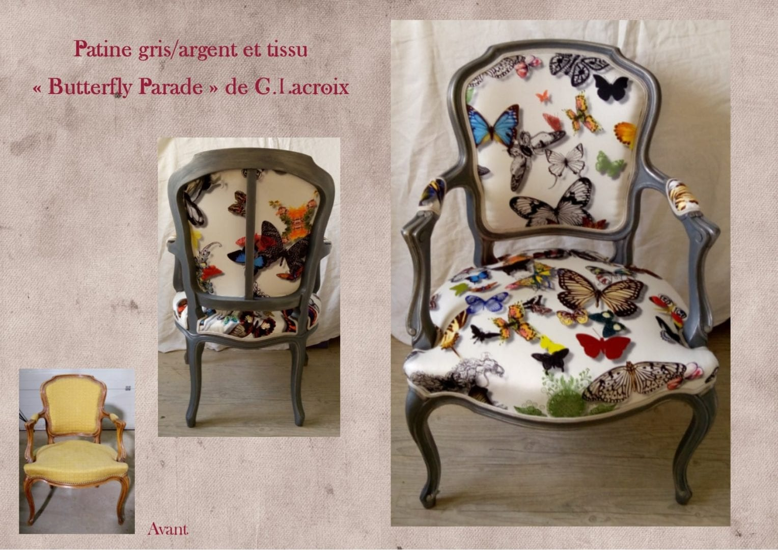relooking cabriolet papillons christian lacrroix lexquisetrouvaille